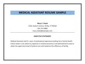 Medical Assistant Objective Statements For Resume Medical Assistant Resume Sample Pdf