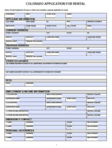 rental form template free colorado rental application pdf template