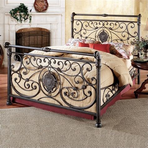 wrought iron sleigh bed hillsdale mercer metal sleigh antique brown finish bed ebay