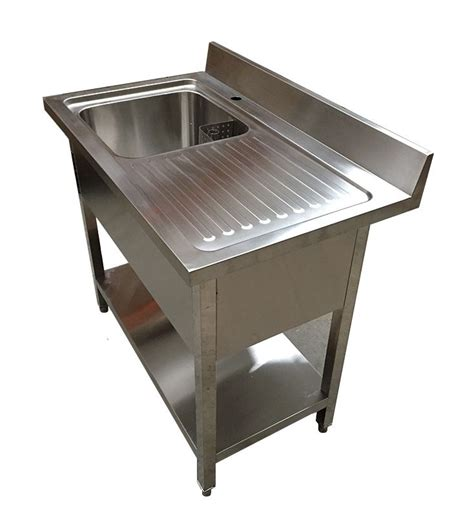 Single Sink Table Grease Trap Stainless Steel 1m commercial stainless steel rhd single bowl sink 600mm