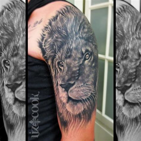 black tattoo grey healing black and gray lion fully healed by liz cook tattoonow