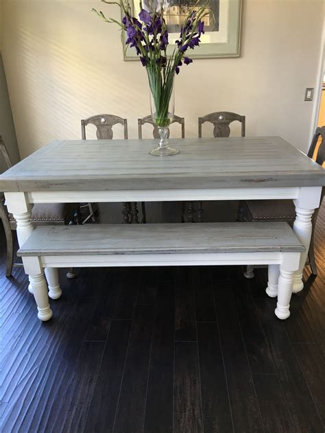 gray dining table with bench farmhouse table with light grey base and distressed