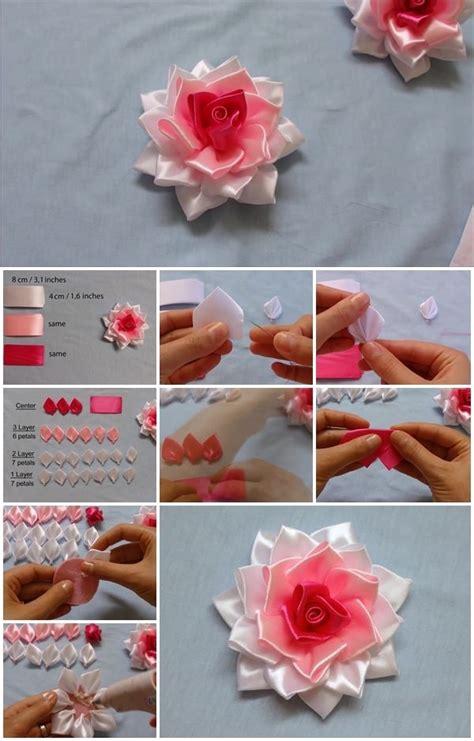 how to make kanzashi kanzashi ribbon flower tutorial www pixshark com