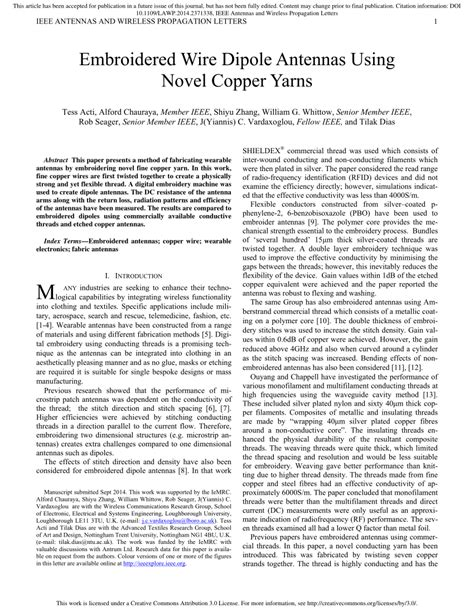 Pdf Embroidered Wire Dipole Antennas Using Novel Copper Yarns Ieee Antennas And Wireless Propagation Letters Template