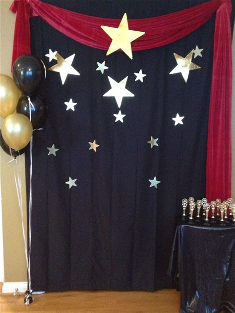 movie themed curtains finished photo backdrop for hollywood party emily s