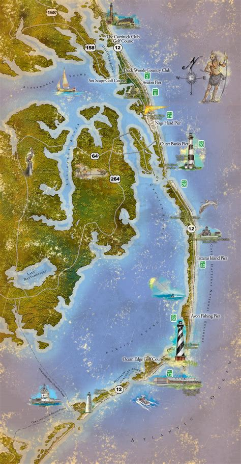 map of carolina outer banks outer banks activities map mappery