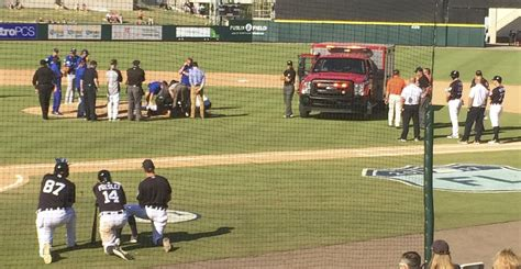 tj house blue jays pitcher t j house leaves in ambulance after taking liner off head reader