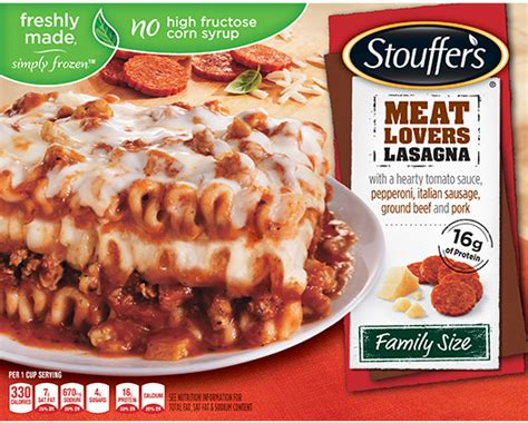 Lasagna Beef Size Family freshly made simply frozen dinners and dishes stouffer s