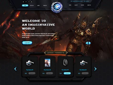 game website layout gaming cafe website template