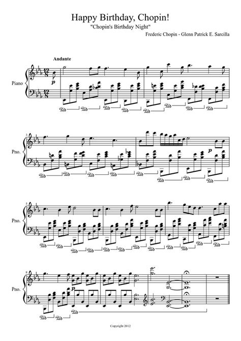 Happy Birthday, Chopin! | Piano Sheet Music | Pinterest