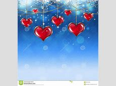 Valentine Red Hearts On Soft Blue Background Royalty Free ... Free Clipart Of Valentine's Day