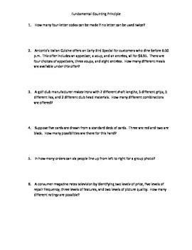 The Fundamental Counting Principle Worksheet by Fundamental Counting Principle Worksheet Wiildcreative