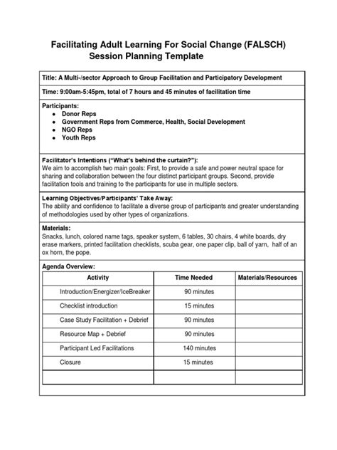 Facilitation Plan Template by Great Facilitation Plan Template Pictures Inspiration