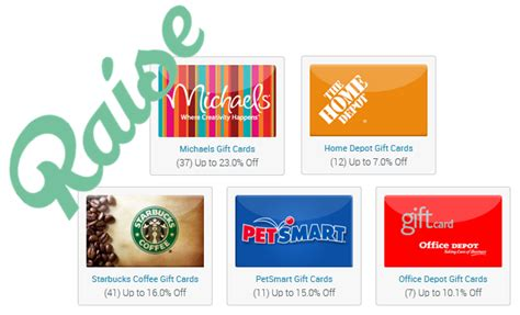 discounted gift cards from raise starbucks home depot