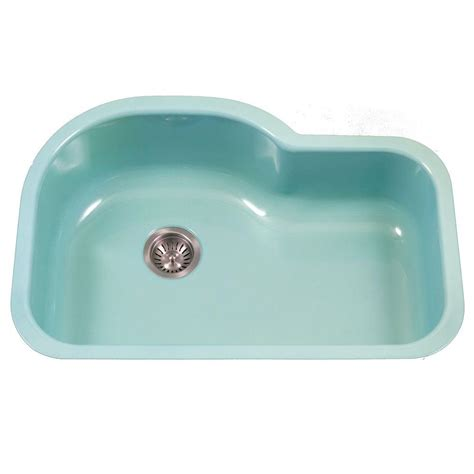 Porcelain Kitchen Sink Undermount Houzer Porcela Series Undermount Porcelain Enamel Steel 31 In Offset Single Bowl Kitchen Sink