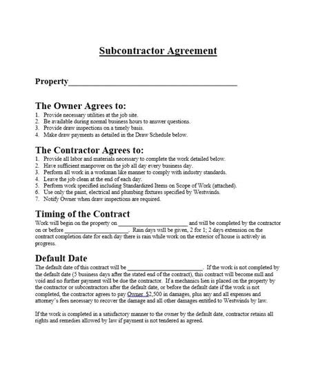 sle business plan general contractor need a subcontractor agreement 39 free templates here