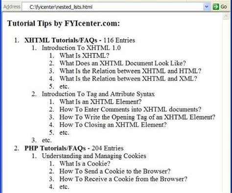 tutorial html list xhtml tutorial nested list elements