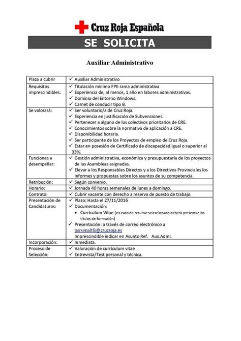 dissidio auxiliar administrativo 2016 auxiliar administrativo para cruz roja en tenerife