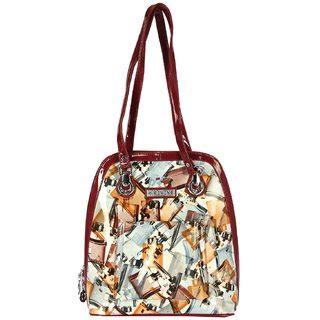 elvine fashionable multi pocket maroon pu bag