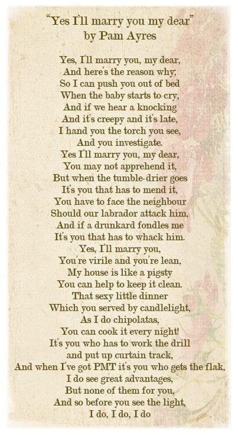yes i ll marry you my dear by pam ayres a favourite fun