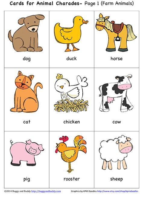 printable animal charades cards microsoft word animal charades 1 docx carta e colori