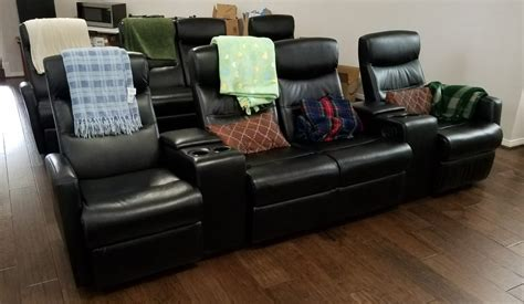 review flash furniture 4 seat black leather home theater