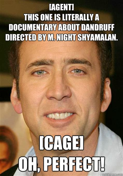 M Night Shyamalan Meme - agent this one is literally a documentary about dandruff