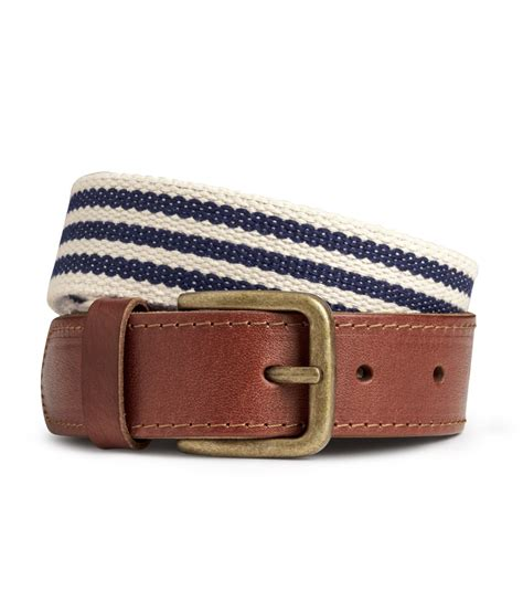 h m canvas belt in brown for lyst