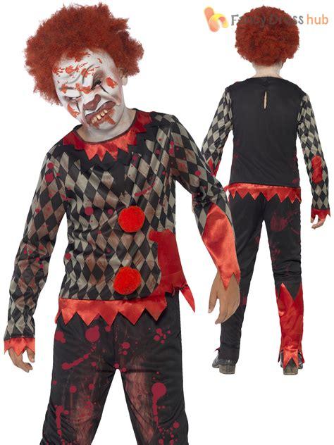 horror themed clothing uk boys zombie scary clown costume evil jester horror