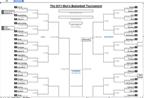 march madness bracket template march madness 2011 best downloadable excel bracket