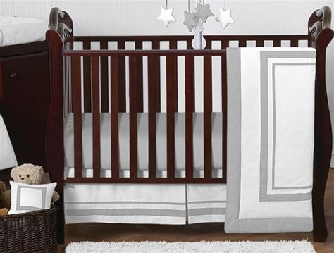 Hotel Crib Bedding by White And Gray Modern Hotel Baby Bedding 11pc Crib Set By Sweet Jojo Designs Only 189 99