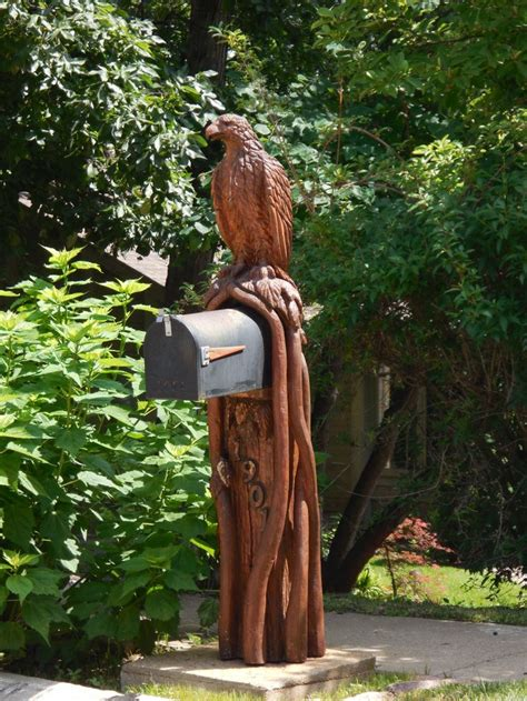 carved eagle mailbox mailboxes wood art wood