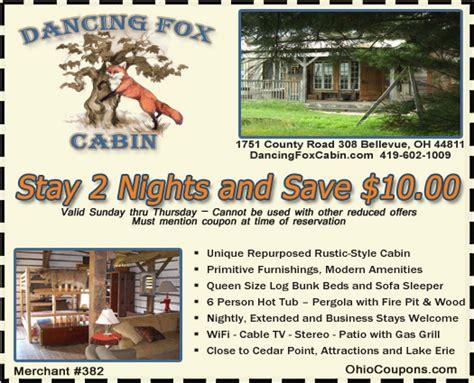 ohio coupons fox cabin rustic cabin rentals near