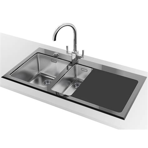 glass kitchen sink franke kubus kbv 651 1 5 bowl rh drainer black glass inset