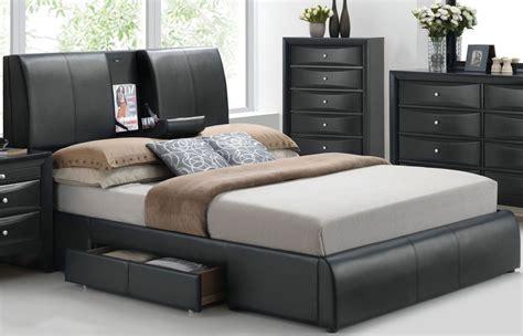 kofi black queen upholstered platform storage bed