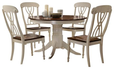 Dining Table For 5 5 Buttermilk And Oak Finish Wood Dining Table Set Transitional Dining Sets