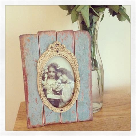 shabby chic distressed wooden panelled photo frame with mount duck egg