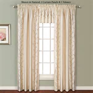 Silk Window Treatments Embroidered Floral Faux Silk Window Treatment