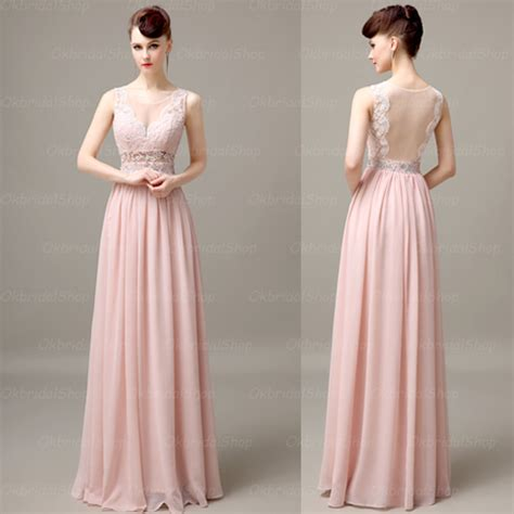 8 Pretty Blush Coloured Clothes by Pink Chiffon Lace Prom Dresses Blush Pink Evening