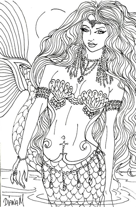 coloring pages for adults mermaid enchantment coloring pages