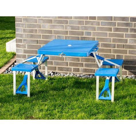 tavolo pic nic con sgabelli pieghevole portatile a valigia