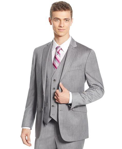 light gray vested suit lyst kenneth cole reaction light grey sharkskin slim fit