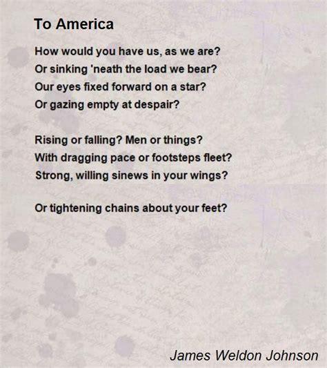 An American Poem To America Poem By Weldon Johnson Poem