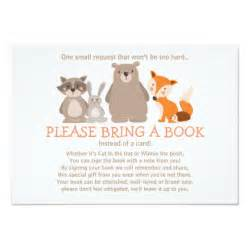 bring book instead of card to baby shower baby shower bring a book card woodland zazzle