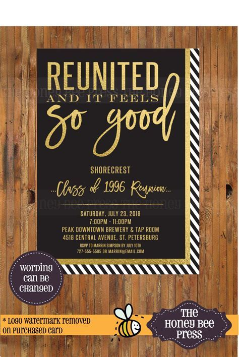 High School Reunion Invitation   Reunited and It Feels So