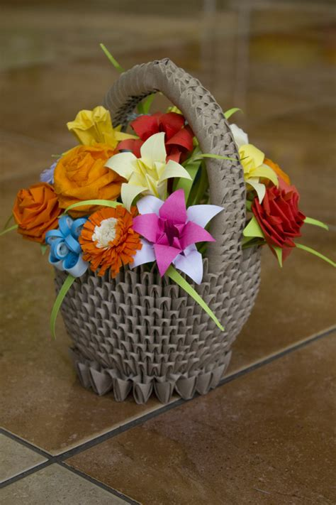 How To Make Origami Flower Basket - pap 237 rvil 225 g sz 237 nes vir 225 gkos 225 r colourful origami flower