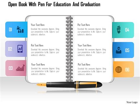 0115 Open Book With Pen For Education And Graduation Powerpoint Template Powerpoint Slide Certification Template Ppt