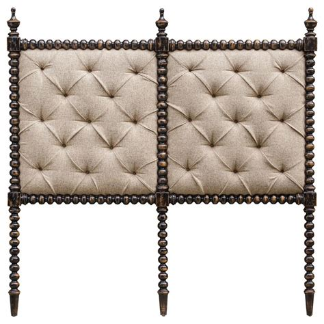 iberico global bazaar tufted linen carved wood