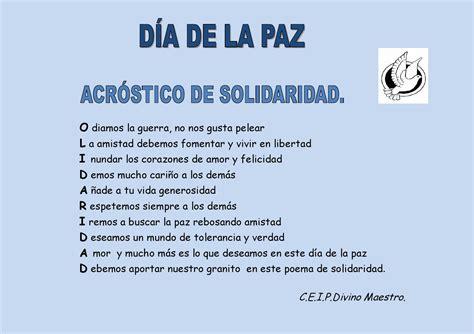 acrostico con la palabra paz acr 243 stico de solidaridad d 237 a de la paz by dolores l 243 pez