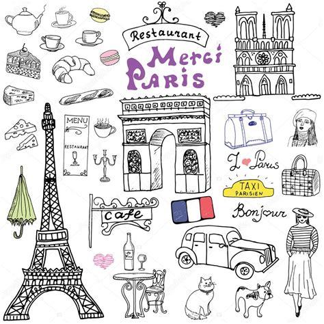 doodle cafe doodles elements set with eiffel tower